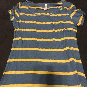 Denim blue and mustard striped tee